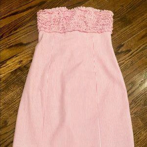 Lilly Pulitzer Pink strapless seersucker dress